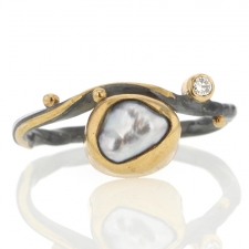 Keishi Pearl and Diamond Ring Image